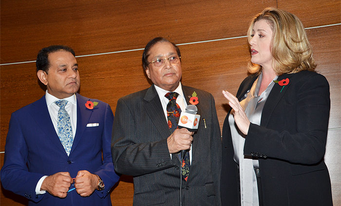 Guest of Honour Rt Hon Penny Mordaunt with President Dr Atul Pathak OBE and Patron Dr Rami Ranger CBE