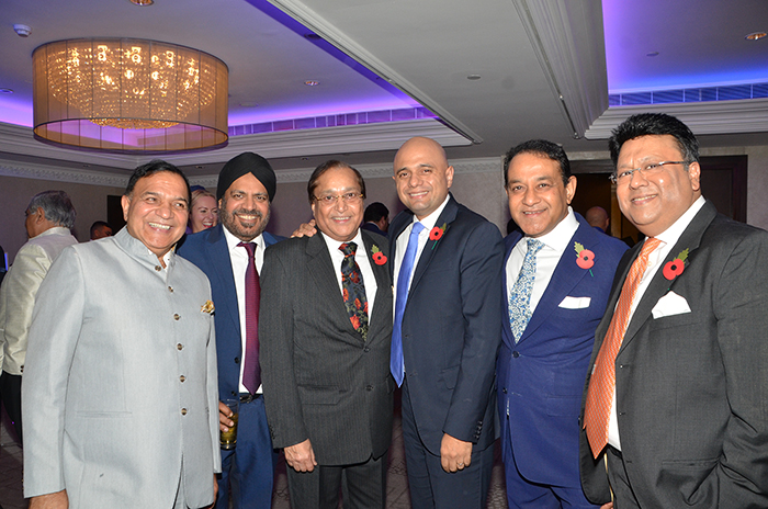 Rt Hon Sajid Javid MP, Home Secretary with the PSBI President Dr Atul Pathak OBE, Vice President Mr Ajay Chadha, , Patrons Dr Rami Ranger CBE , Anil Sharma and Dr Ravi Gidar