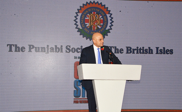 Rt Hon Sajid Javid thanking the PSBI for the Pride of Punjab Award and dedicating his Award to all the Grandparents and Parents from the Punjabi Community who have made Britain their home.